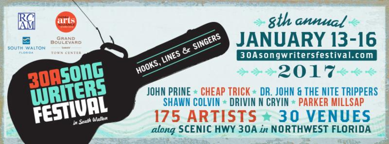 30A Song Writers Festival Jan. 13th-16th along 30A in Northwest Florida ……..