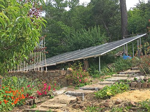 Solar panels in the garden