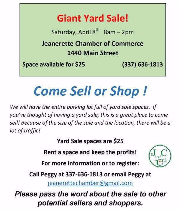 Jeanerette Chamber Yard Sale and Farmers Market 2017 Flyer
