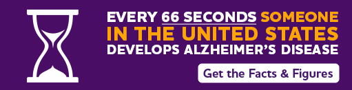 banner says every 66 seconds someone in the US develops Alzheimer's disease. Get the facts & Figures