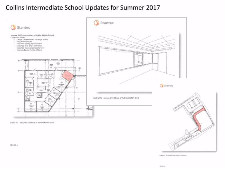 this summer plans are underway for collins intermediate school and sam houston elementary secure entry vestibules in addition to other improvements at