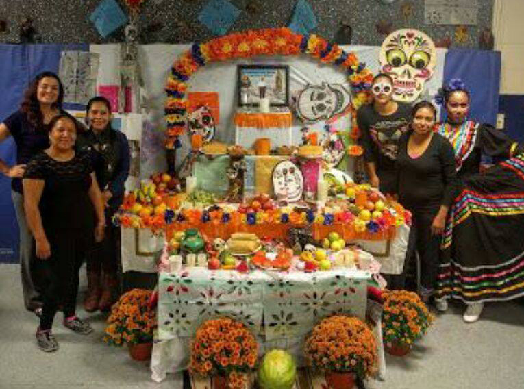 Parent volunteers organized the 2016 _Day of the Dead_ celebration.