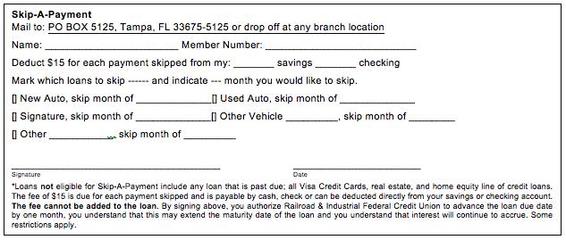 Skip a Payment Form