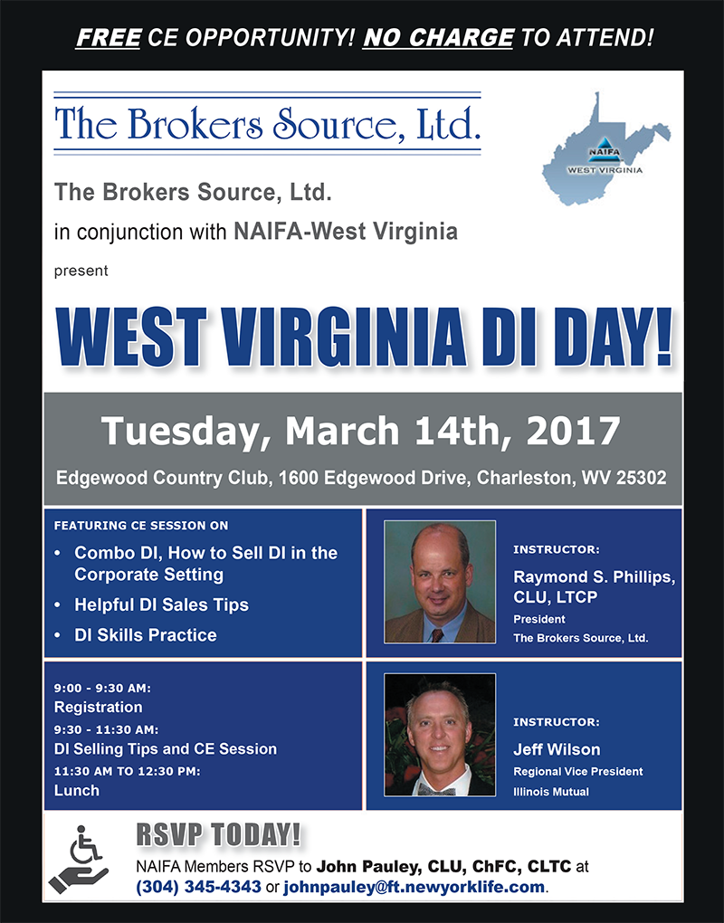 West Virginia Di Day on Tuesday March 14th at Edgewood Country Club