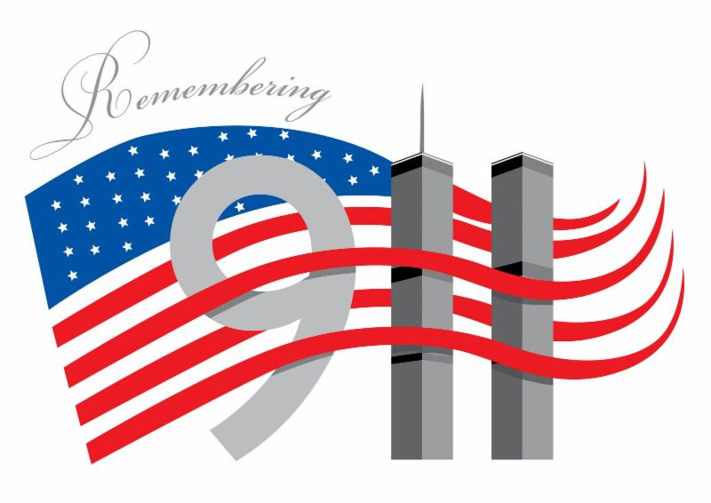 American flag and twin towers of NYC