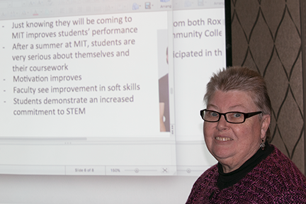 Community college students who experience a summer of research at MIT develop greater self-confidence and better academic skills, with a majority completing a four-year degree, MIT Materials Research Laboratory Education Officer Susan Rosevear says.