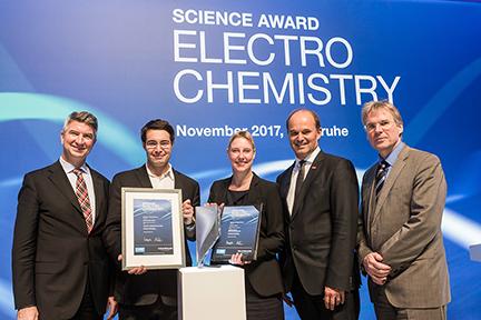 BASF and VW Science Award Electrochemistry presentation Dec. 1, 2017, (l-r) Ulrich Eichhorn VW, Stafford Sheehan, Catalytic Innovations, MIT Asst. Prof. Jennifer Rupp, Martin Brudermüller, BASF, and Holger Hanselka, Karlsruhe Institute. BASF photo.