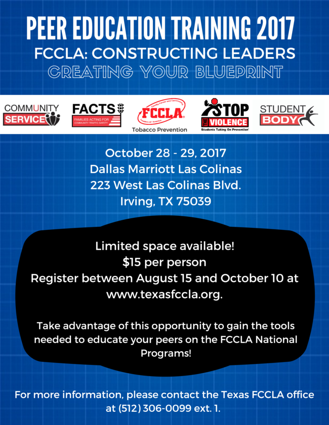 Texas fccla advisor september update we have moved the date of peer education back this year in order to accommodate many school requirements for securing travel the peer education conference malvernweather Gallery