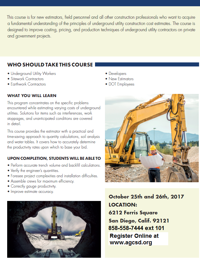 Estimating Underground Utilities 2-Day Training October 25 & 26