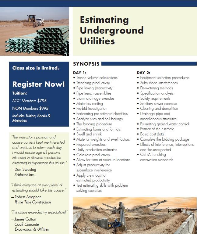 Estimating Underground Utilities 2-Day Training October 25 & 26