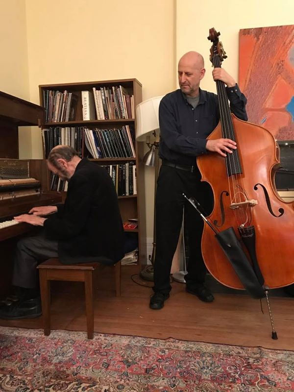 Jon Dreyer and Harvey Diamond playing at a house concert as part of Boston Jazz Week