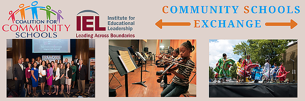 Coalition for Community Schools Logo and IEL Logo Title Community Schools Exchange Picture 1 Community Schools Awards Picture 2 Students playing instruments Picture 3 Children dancing in ethnic dresses