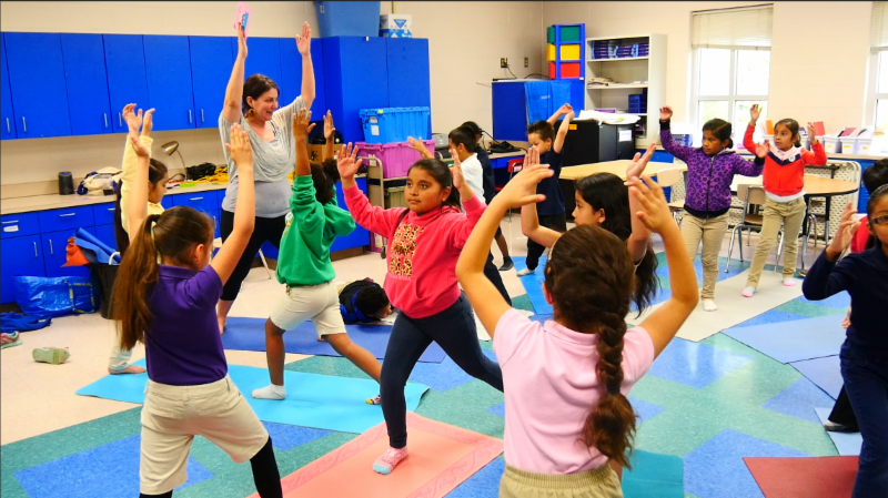 Children practicing mindfulness