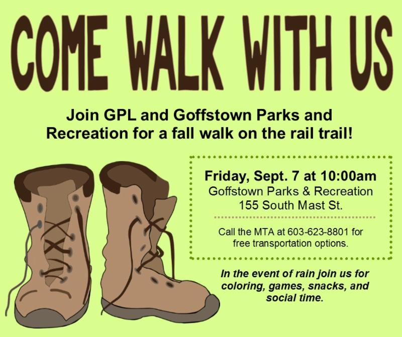 Come Walk With Us poster for Library and Parks & Rec Rail Trail event