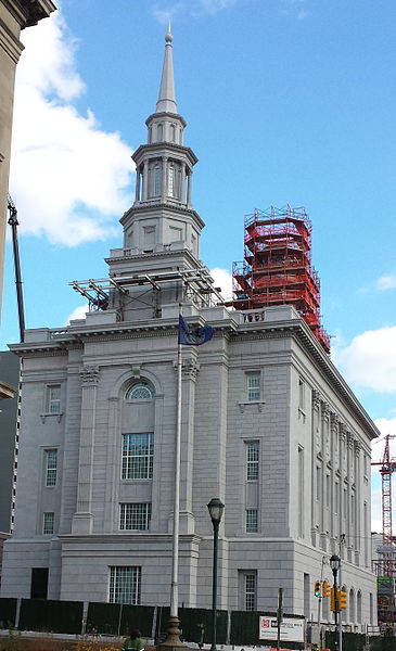 The west end of the Philadelphia Pennsylvania Temple of the LDS (Mormon) Church, under construction in December, 2015