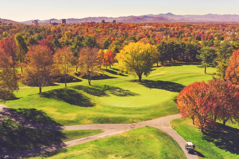 Aerial view of colorful autumn golf course