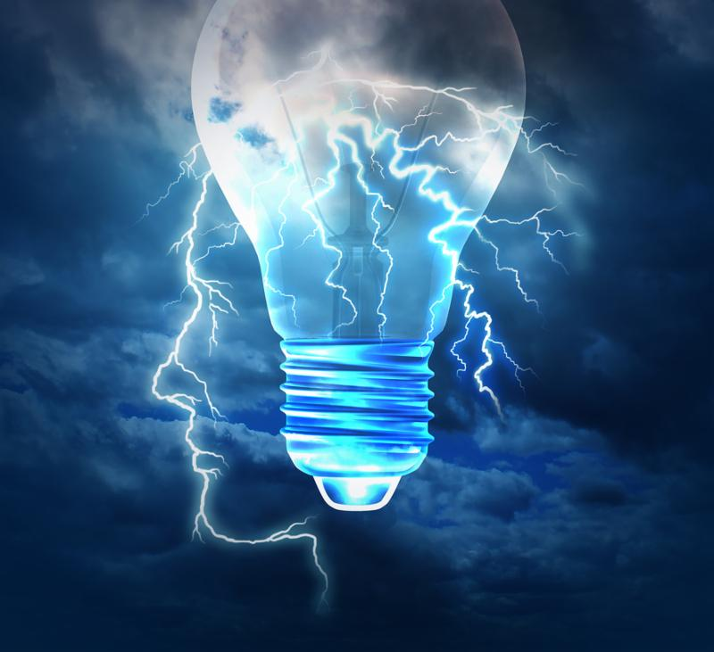 Brainstorm creative idea concept or brainstorming symbol as a lightning bolt from the sky shaped as a human head with a lightbulb image as a metaphor to conceptualize and conceive solutions with new innovative bright thinking.