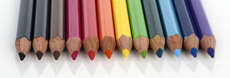 row of colorful colored pencils