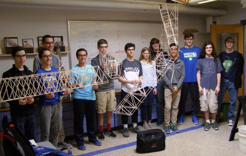 Westhill HS students with bridges