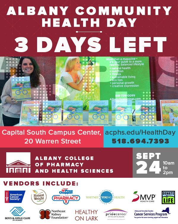 ACPHS Albany Community Health Day - 3 Days Left