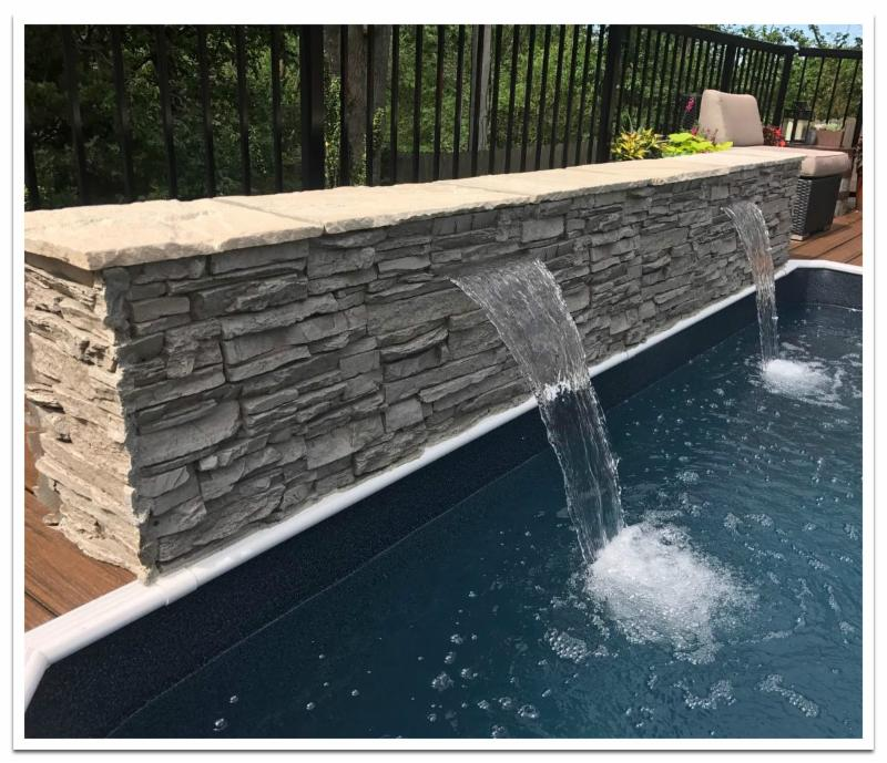 Pool fountain with Norwich Stacked Stone