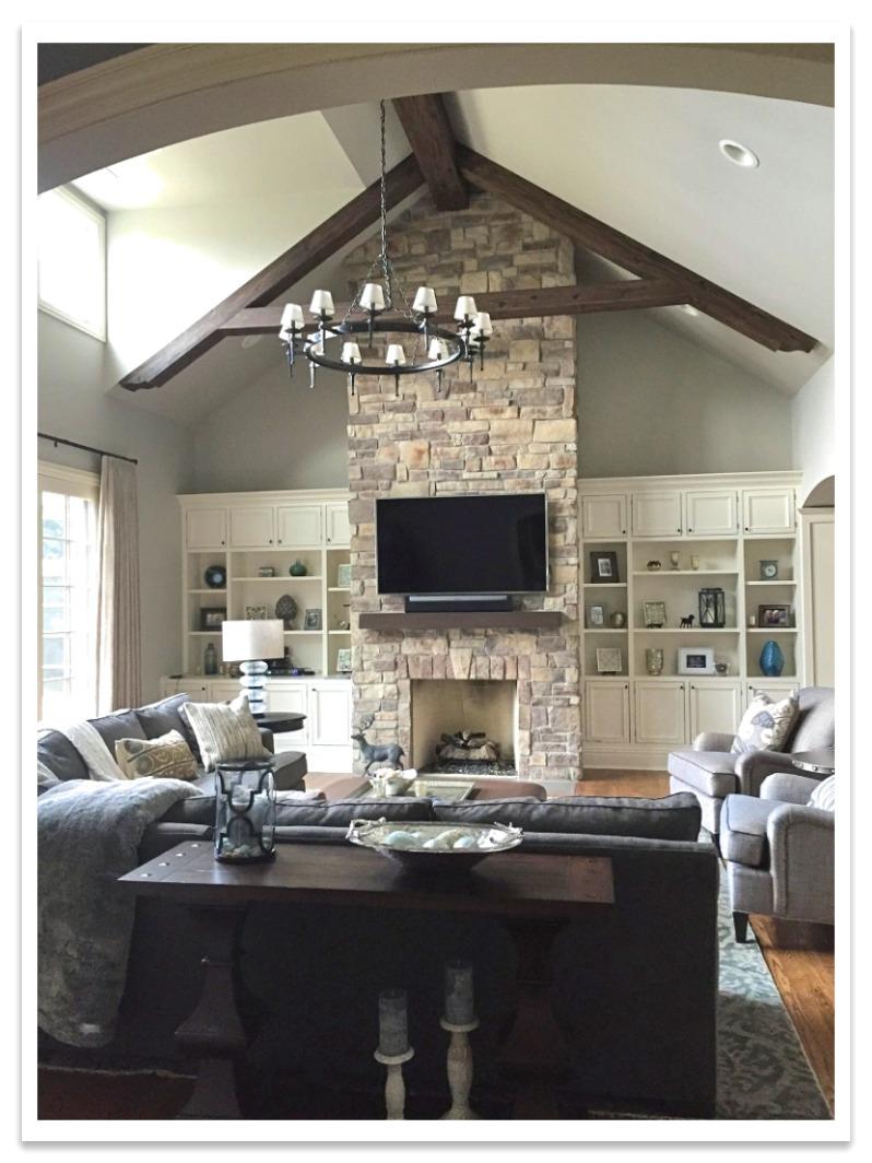Driftwood truss in living room