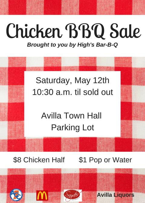 Chicken BBQ Sale May 12 at Avilla Town Hall