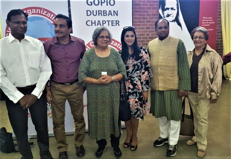 GOPIO Officials with Ela Gandhi and Dr. Udit Raj, MP at Phoenix Ashram