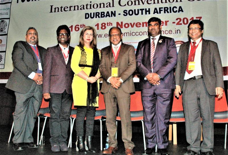 4th Tamil Conference Organizers with Durban Deputy Mayor Fawzia Peer and GOPIO Intl. Coordinator Ishwar Ramlutchman