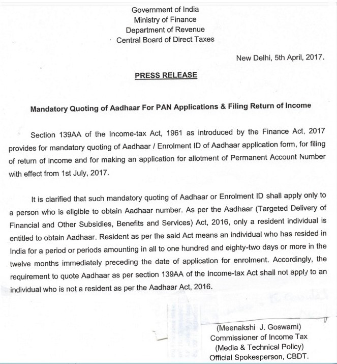 Ministry of Finance press release on Aadhaar Card for NRIs