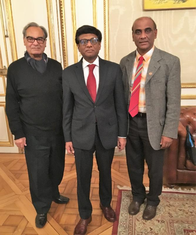 GOPIO Europe Convention Convener Mehen Poinoosawmy with Indian Ambassador Mohan Kumar