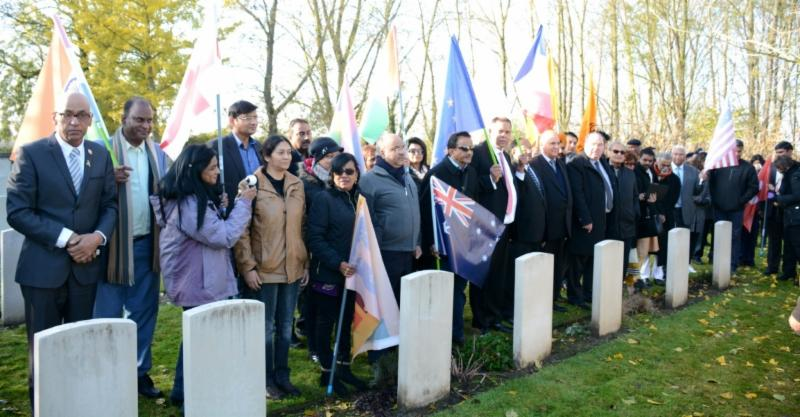 GOPIO team at Neuve Chapelle paying tribute to the Indian soldiers