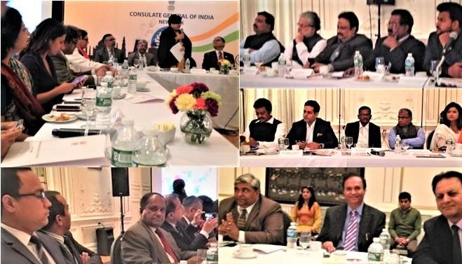 Members of Indian Parliament interacting with GOPIO officials at the Indian Consulate in New York