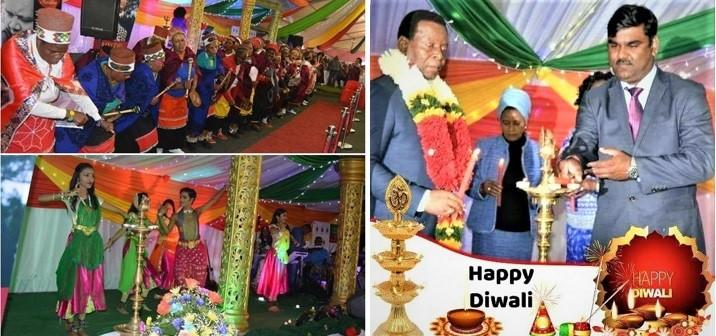 Zulu King and GOPIO's Ishwar Ramlutchman at the Diwali Celebration