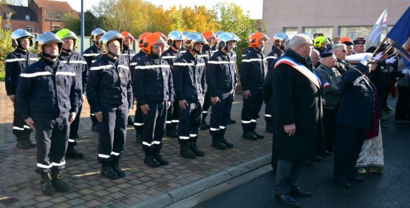 French fire force team, former military members along with the Mayor at GOPIO program at Neuve Chappelle