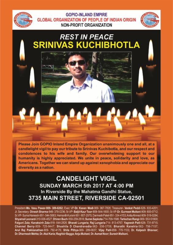 Candle Light Vigil for Srinivas Kuchibhotla, March 5, 2017