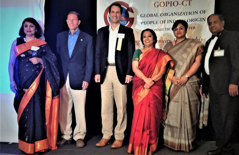 GOPIO-CT  officials with dignitaries at Awards Banquet 2017
