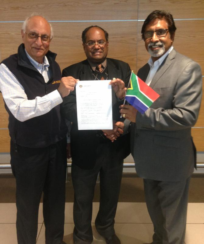 Hon. Aumsen Singh Presenting SA Parliamentary Proceedigns Recognizing GOPIO
