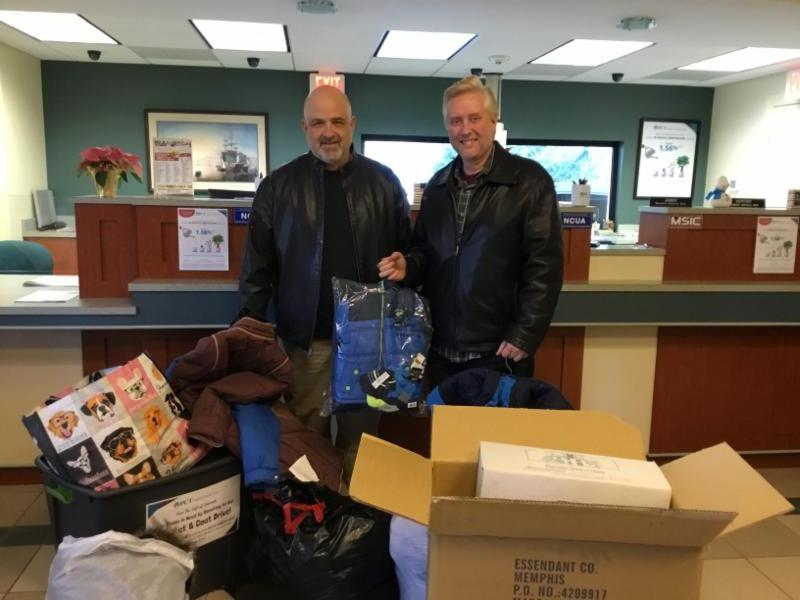 Pastor Dave Ferrari from The Bridge in Onset & Pastor Barry Hanson from Crossroads Church in Carver collecting our blanket & coat donations for those in need.