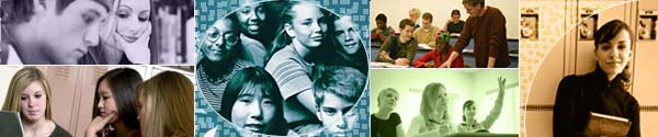 A  six-image collage of students of various ages.