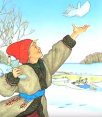 illustration of boy with mittens