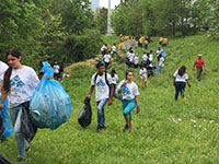 group of people carrying trash bags and walking up a green hill