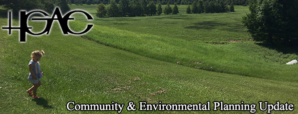 Banner with H-GAC logo community and environmental planning update small child walking in green space