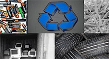 Batteries, recycling symbol, computers, tires