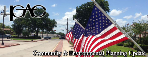 July 2017 Banner - American Flags flying at park in Alvin