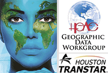 GIS Expo Map face, H-GAC and TransStar logos