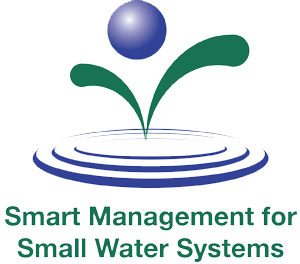 Smart Water Management for Small Water Systems logo. Water drop over words