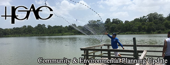 Man tossing a cast net from a dock at Armand Bayou - July 2018 Newsletter Banner Image