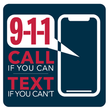 9-1-1 Call if you can text if you can't thought bubble in a cell smart phone