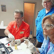 Stream Team volunteers testing water quality
